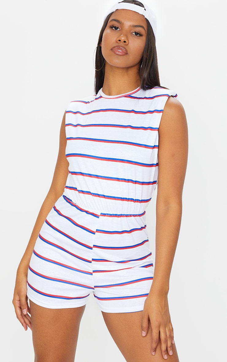 White Striped Crew Neck Shoulder Pad T Shirt Playsuit 1