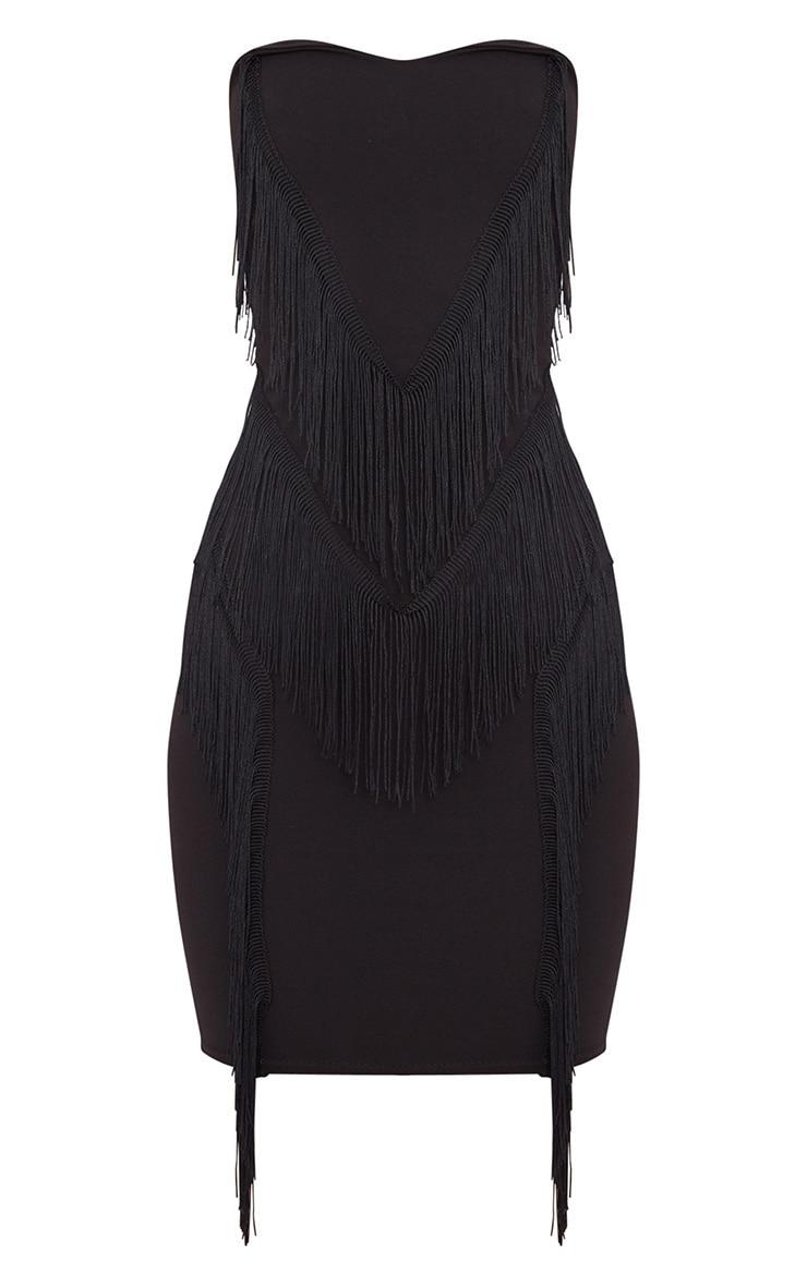 Black Bandeau Tassel Detail Bodycon Midi Dress 3