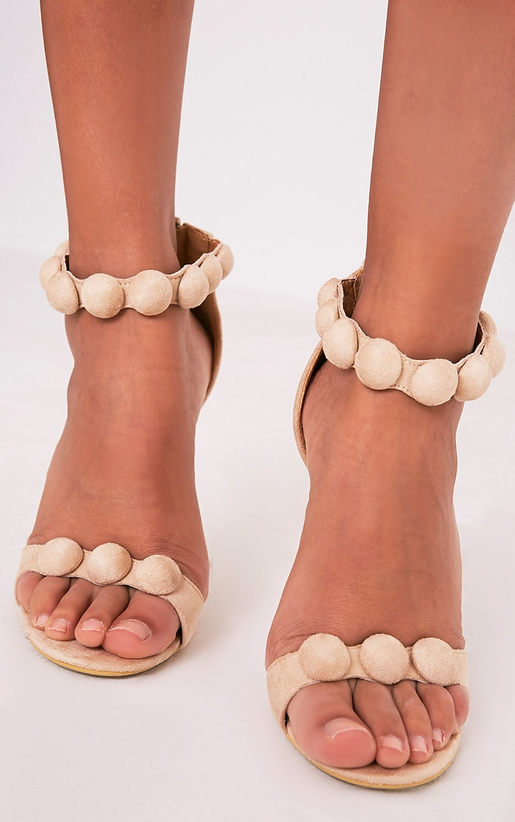 Una Cream Suede Studded Strappy Heeled Sandal 5