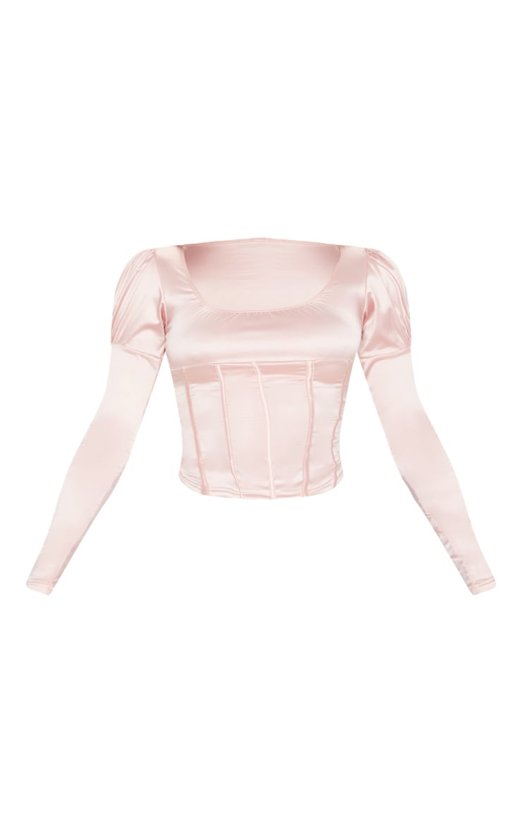 Light Pink Satin Structured Bodice Puff Long Sleeve Top 3