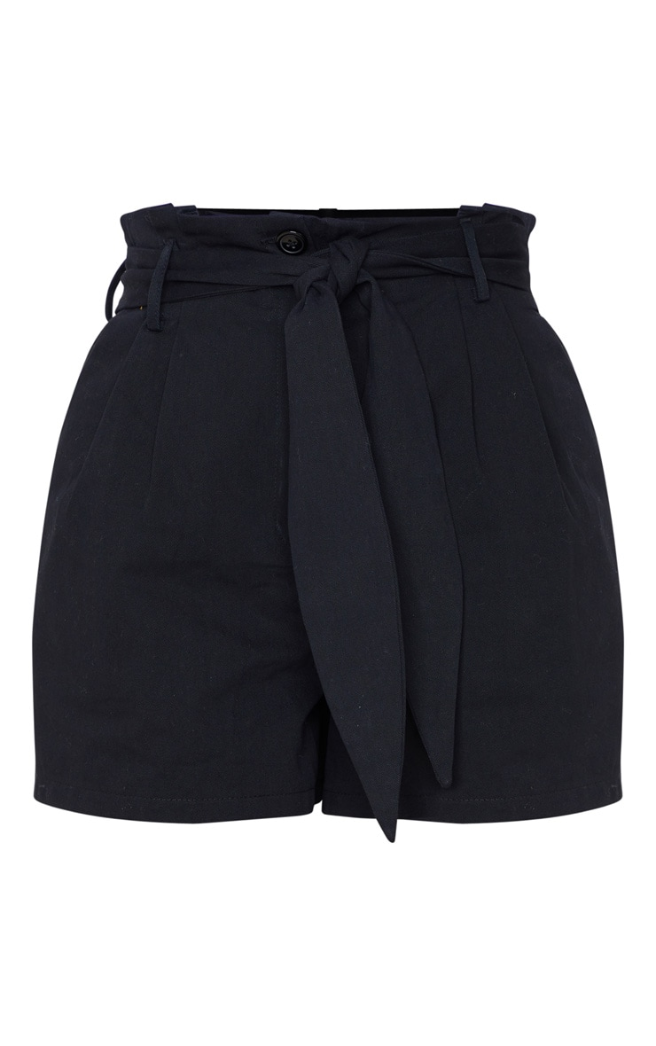 Black Paperbag Tie Waist Tailored Shorts 3