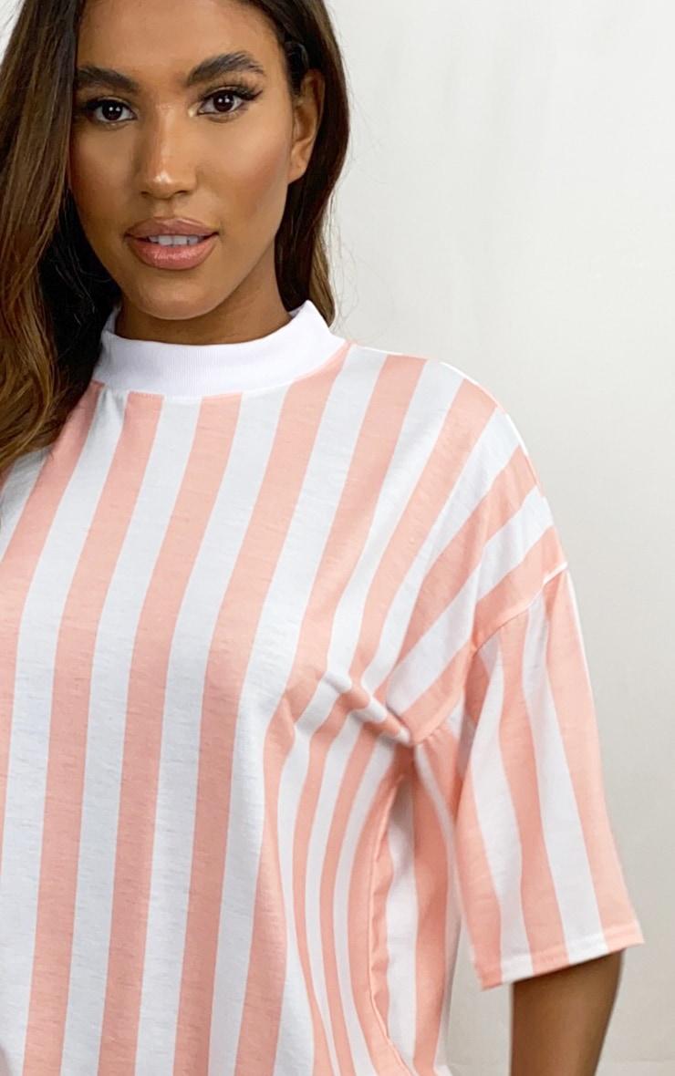 Pink Vertical Stripe T Shirt Dress 4