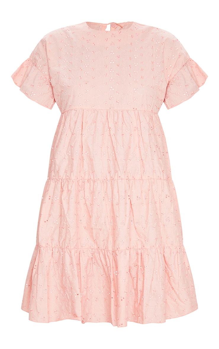 Peach Broderie Anglaise Smock Dress 5