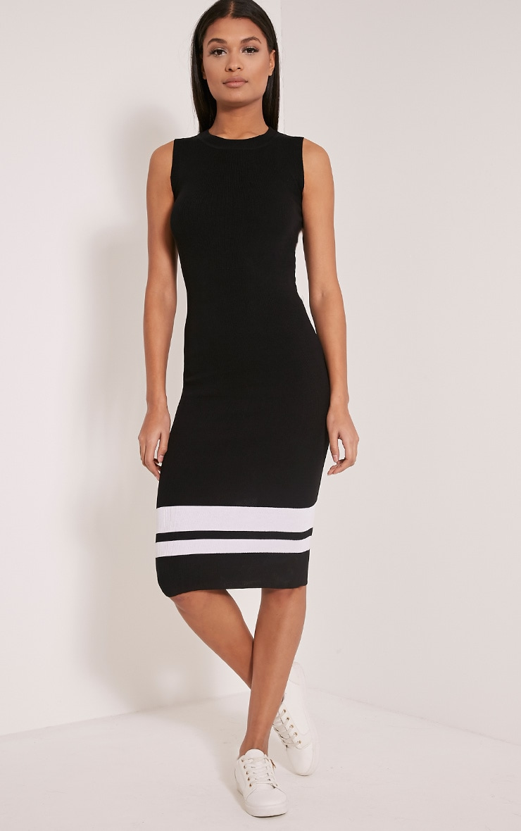 Kammie Black Stripe Ribbed Sleeveless Midi Dress 4