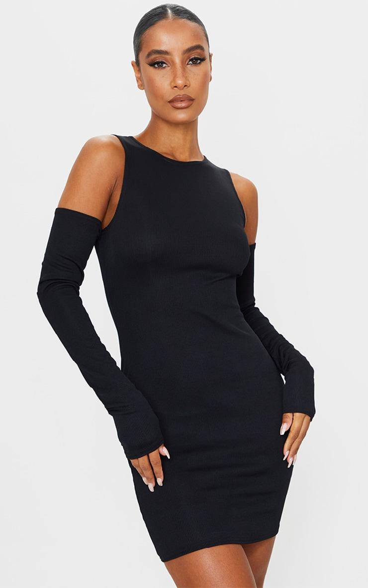 Black Cold Shoulder Ribbed Bodycon Dress 1
