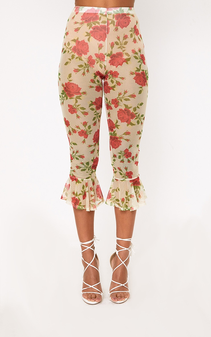Cream Embroidered Printed Mesh Frill Hem Crop Trousers 2