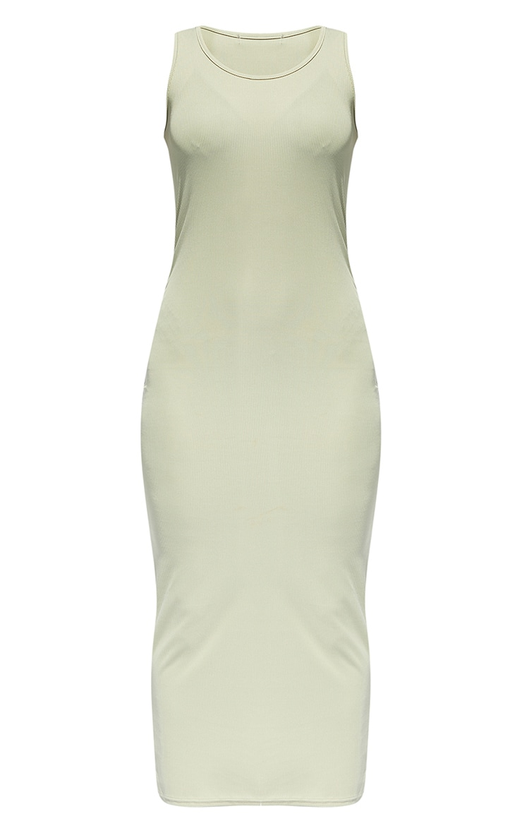 Sage Green Basic Rib Maxi Dress 5