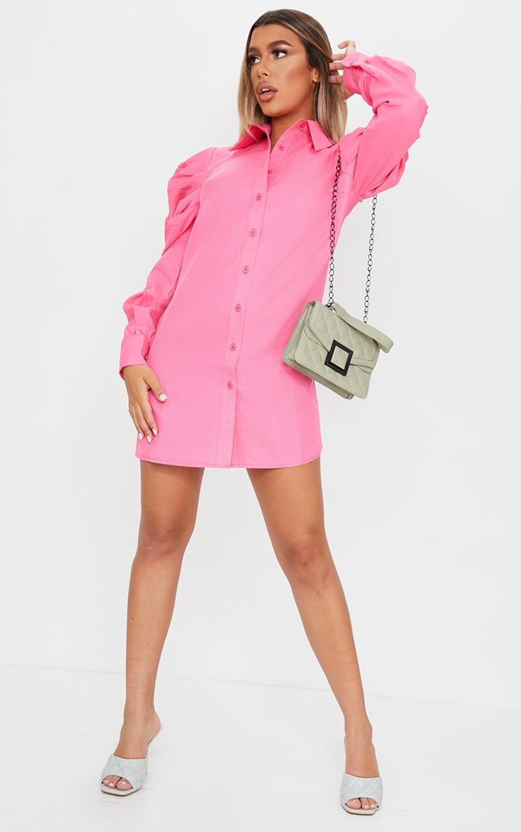 Bright Pink Puff Sleeve Shirt Dress 3