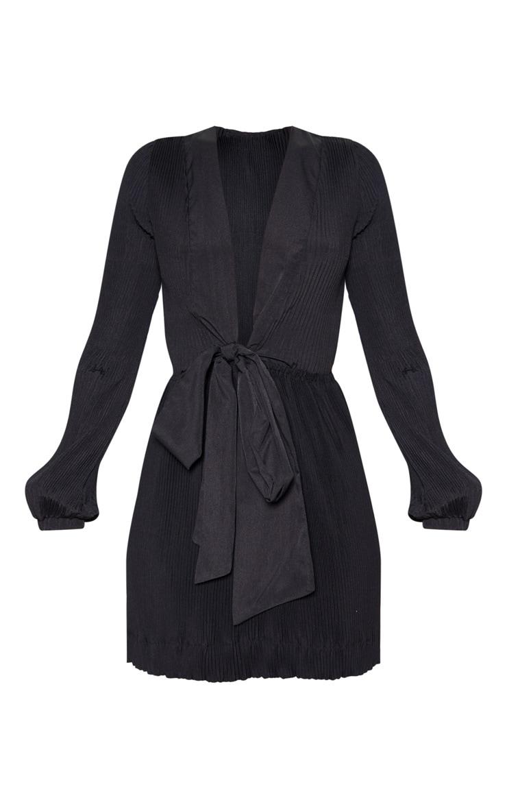 Black Pleated Plunge Long Sleeve Skater Dress 3