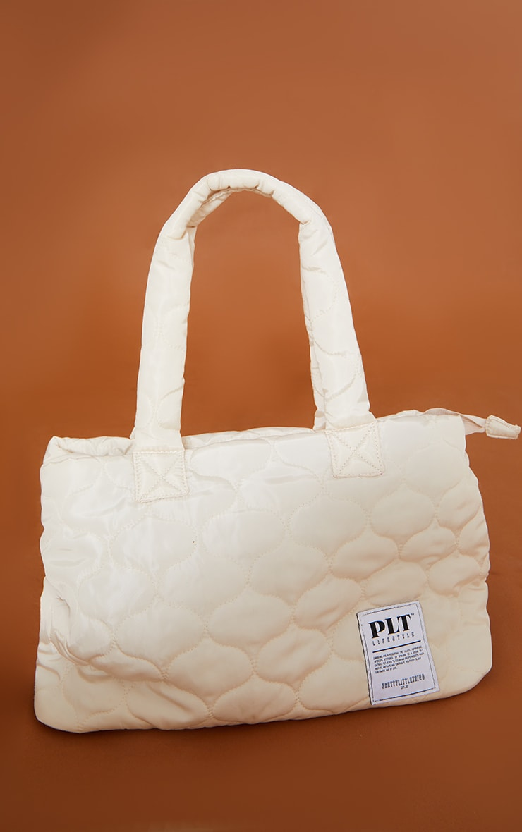 PRETTYLITTLETHING Cream Lifestyle Quilted Tote Bag 2