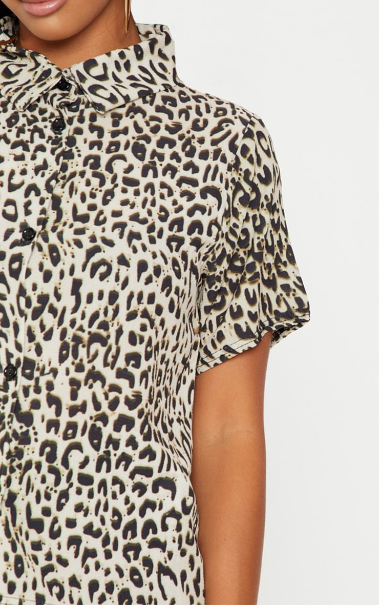 Petite Brown Leopard Print Cropped Shirt  4