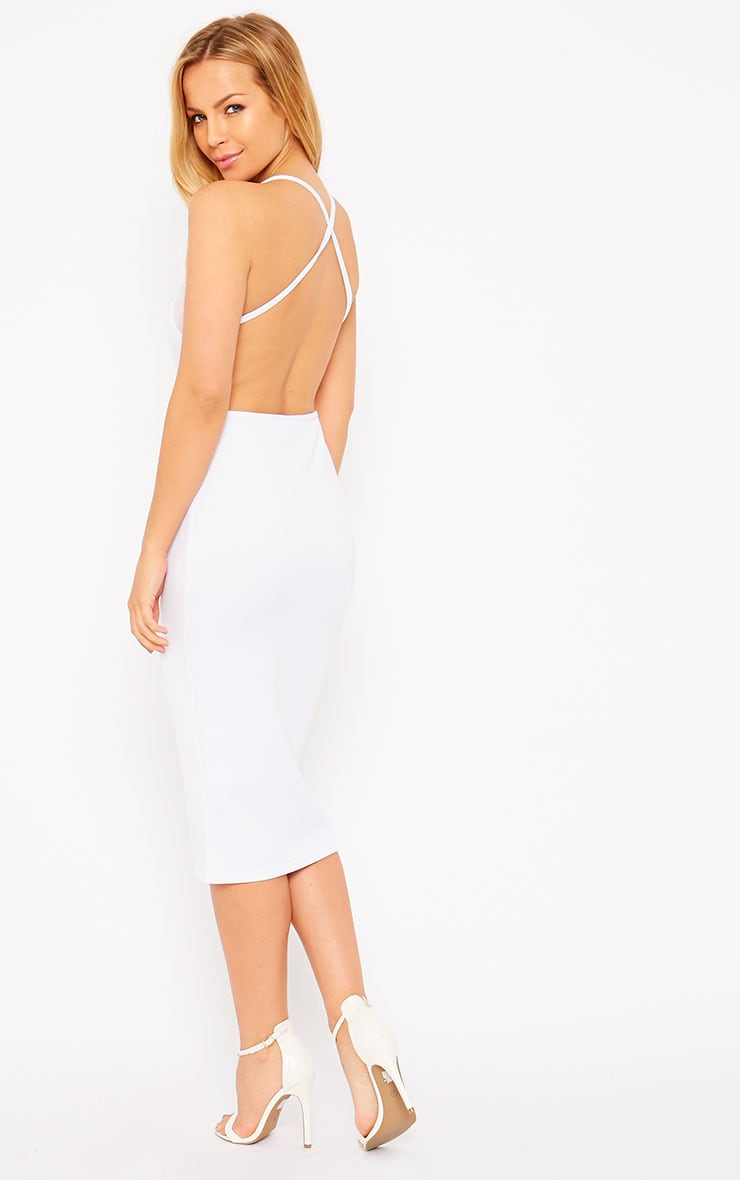Naveen White Mesh Front Midi Dress 4