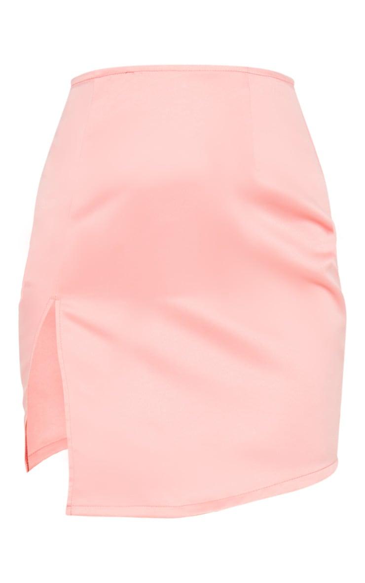 Pink Tailored Satin Split Front Mini Skirt 3