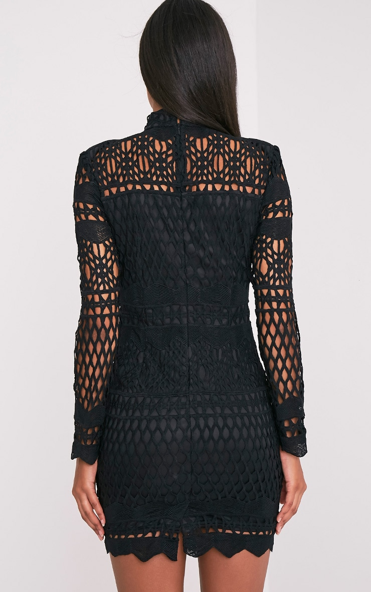 Lexi Black Crochet Lace Long Sleeve Bodycon Dress 2