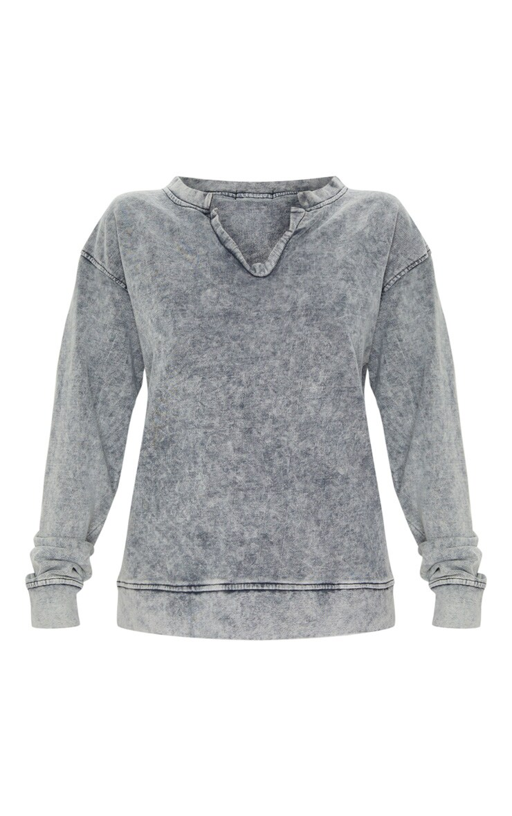 Light Grey V Neck Long Sleeve Washed Sweater 3