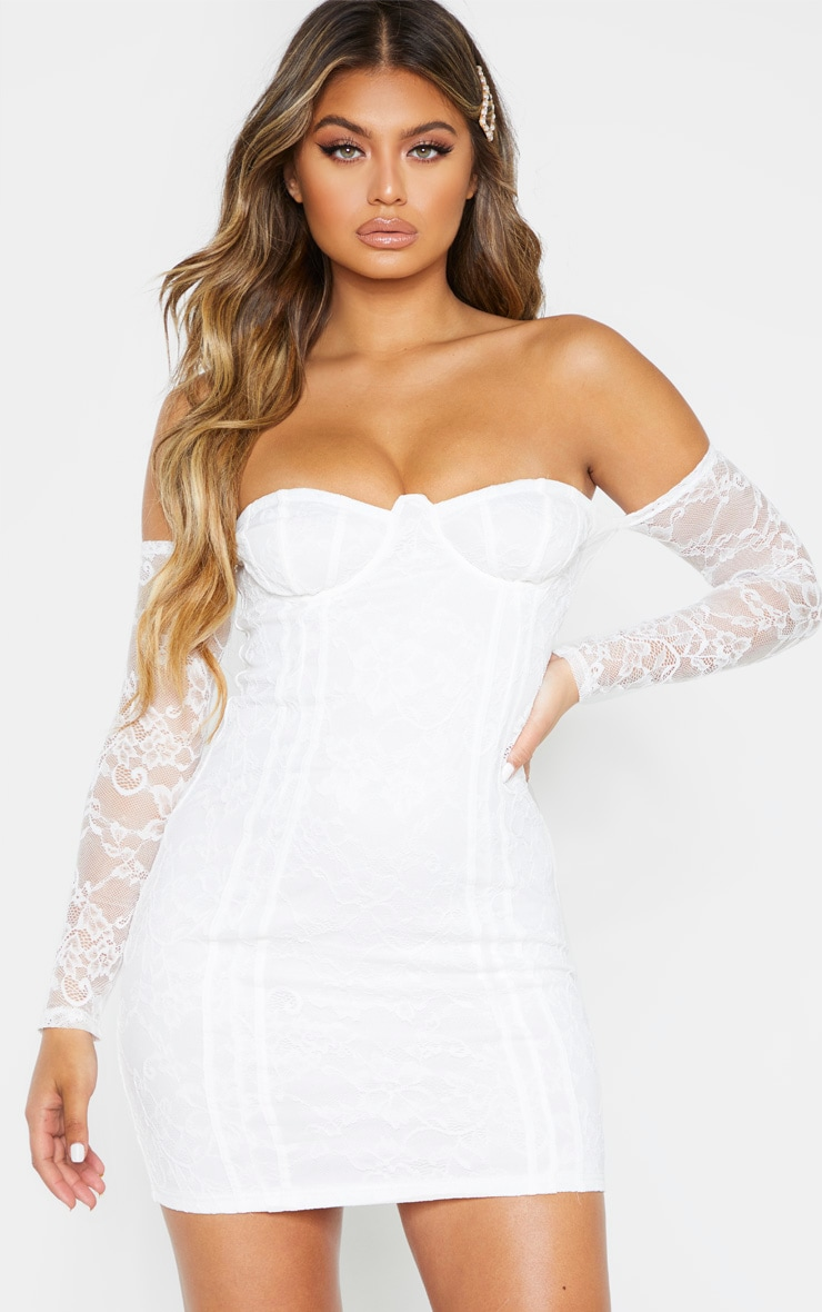 White Lace Cup Detail Bodycon Dress 1