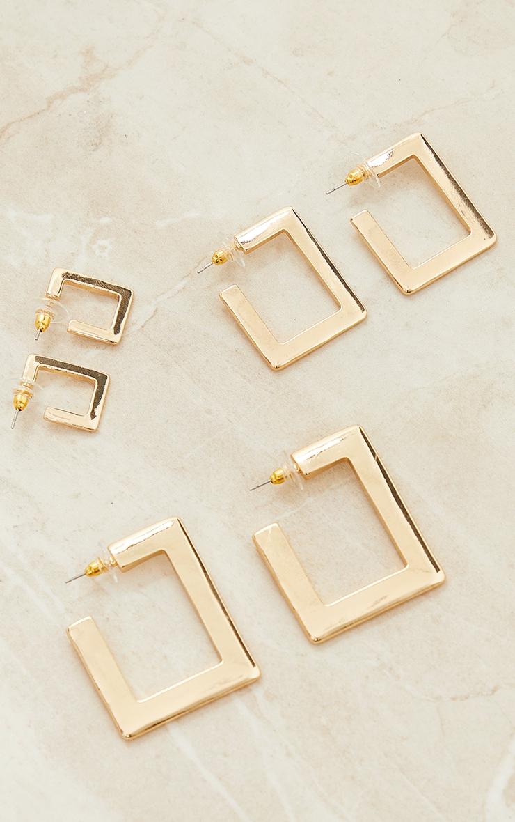 Gold 3 Pack Square Hoop Earrings 2