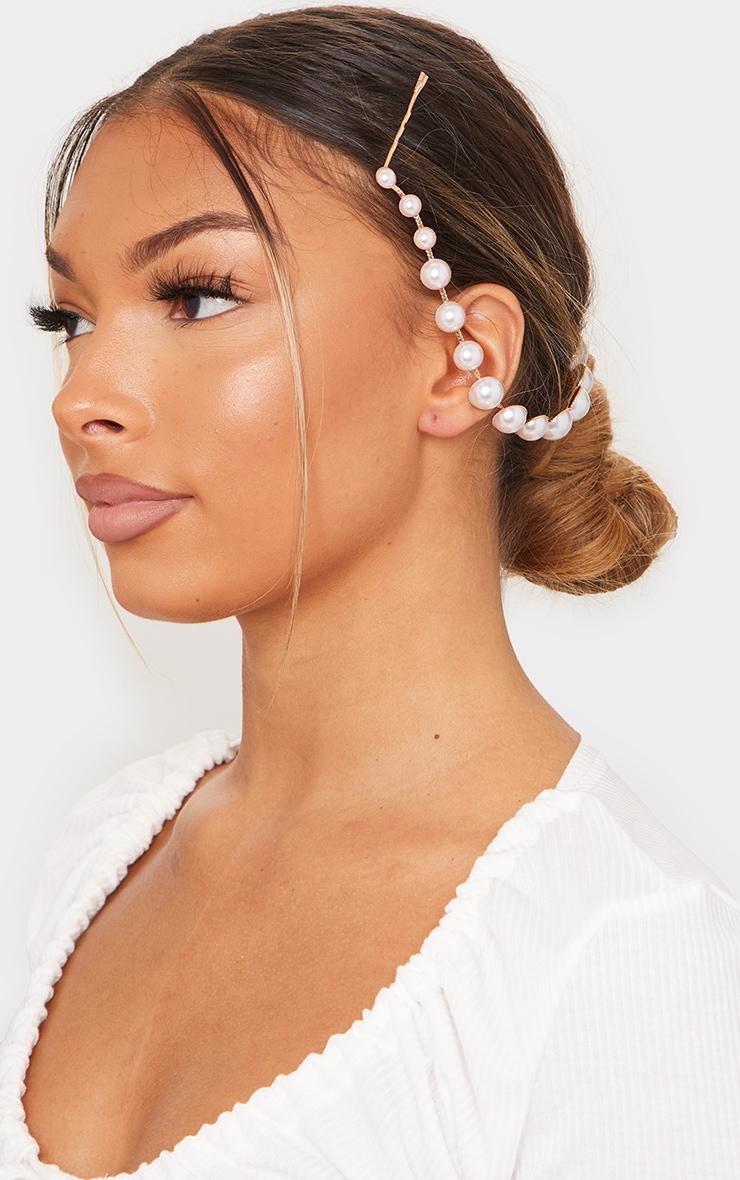 White Pearl Gold Hair Clip 1