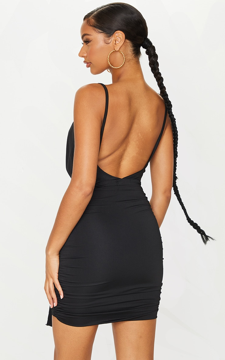 Black Slinky Cowl Drape Ruched Bodycon Dress 2