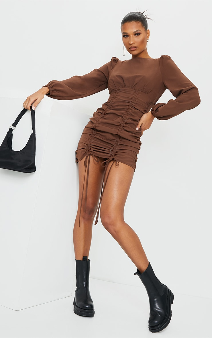 Chocolate Ruched Long Sleeve Bodycon Dress 1