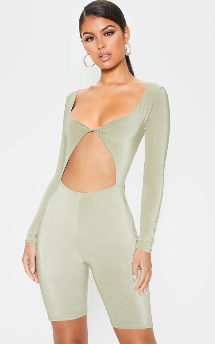 Sage Khaki Cut Out Long Sleeve Unitard 1