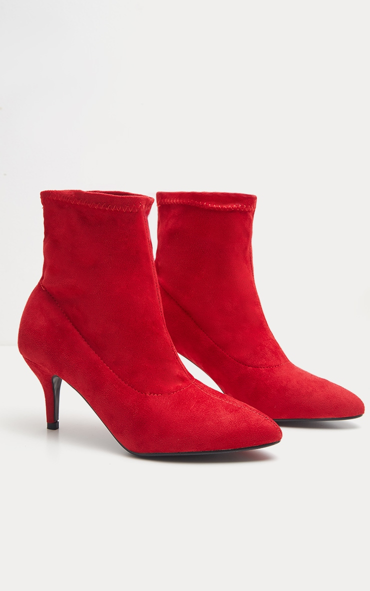 f5449d888dc4 Red Faux Suede Kitten Heel Boot   Shoes   PrettyLittleThing