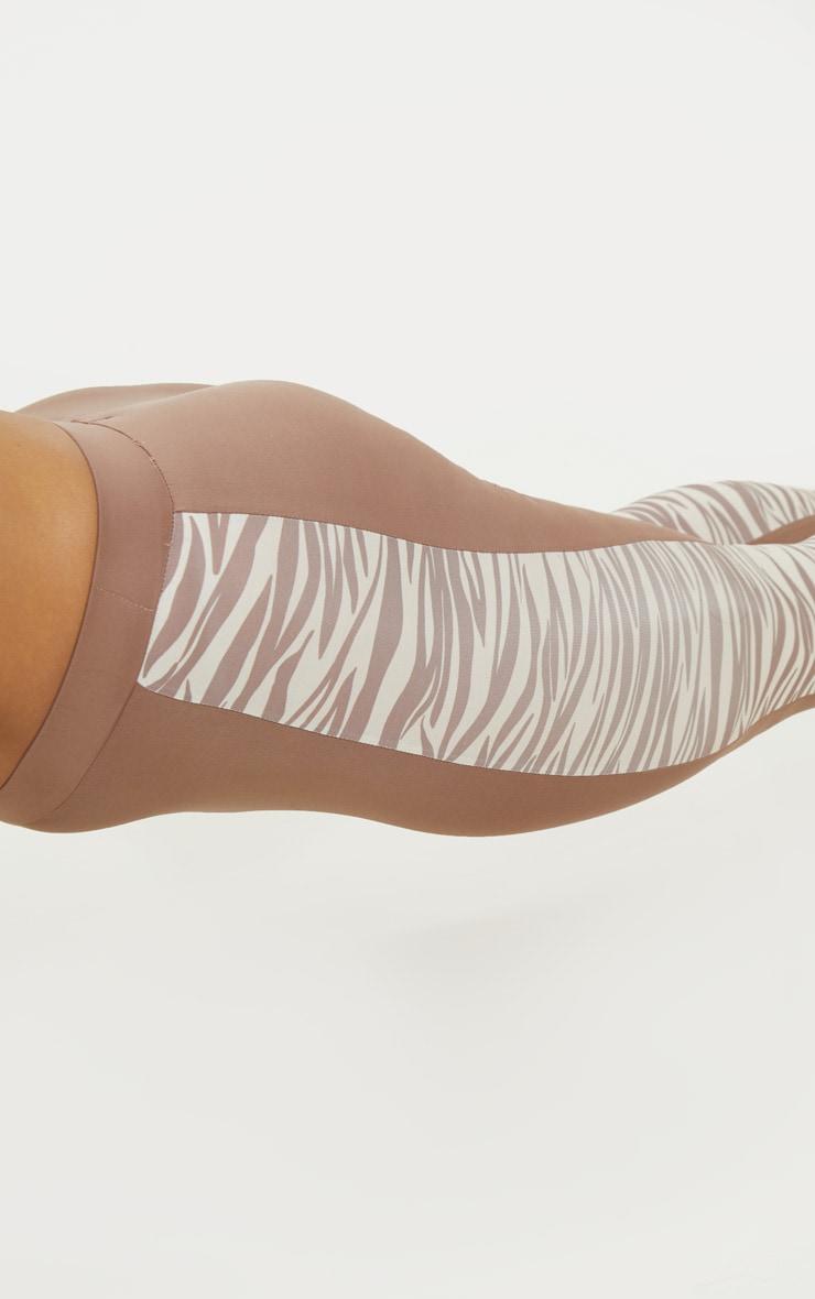 Zebra Panelled High Waist Gym Legging 5