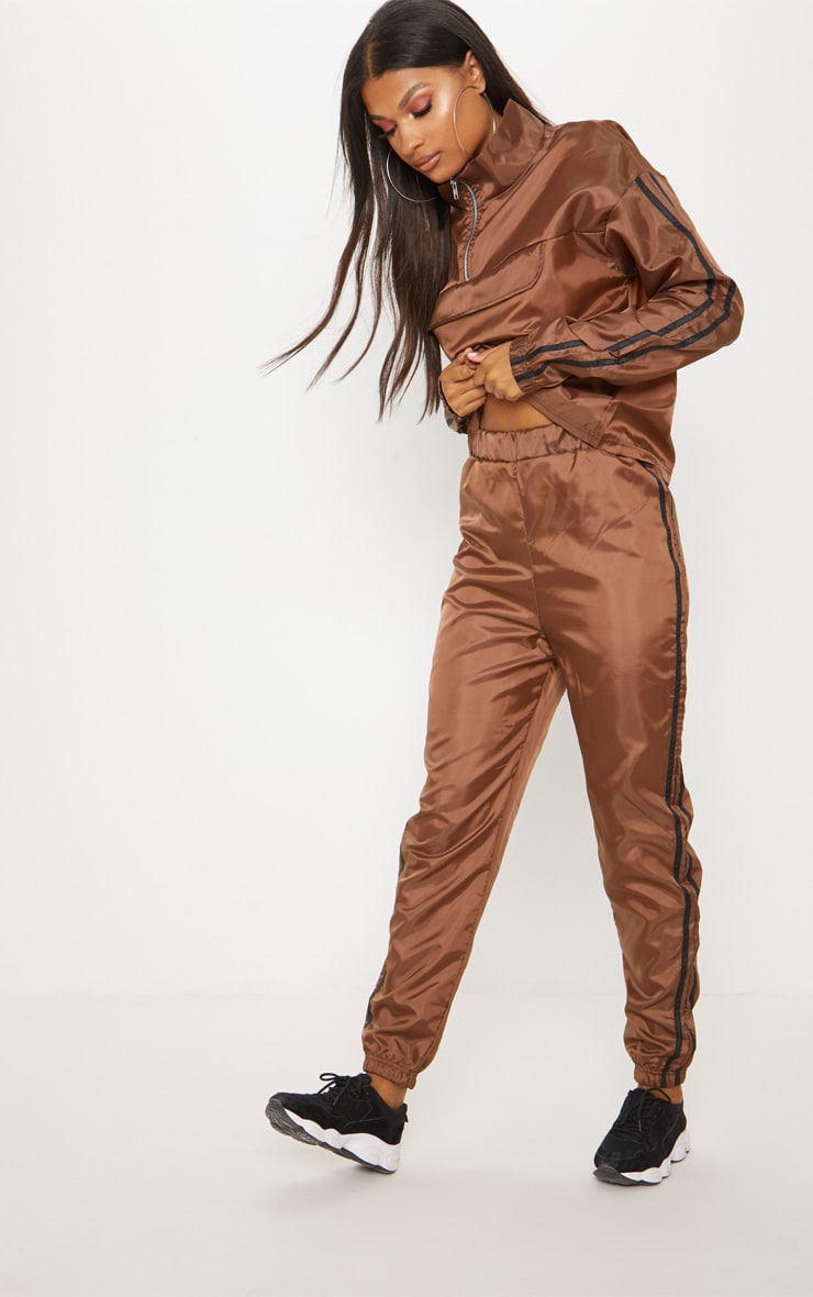 Chocolate Contrast Sport Stripe Shell Cuff Jogger 1