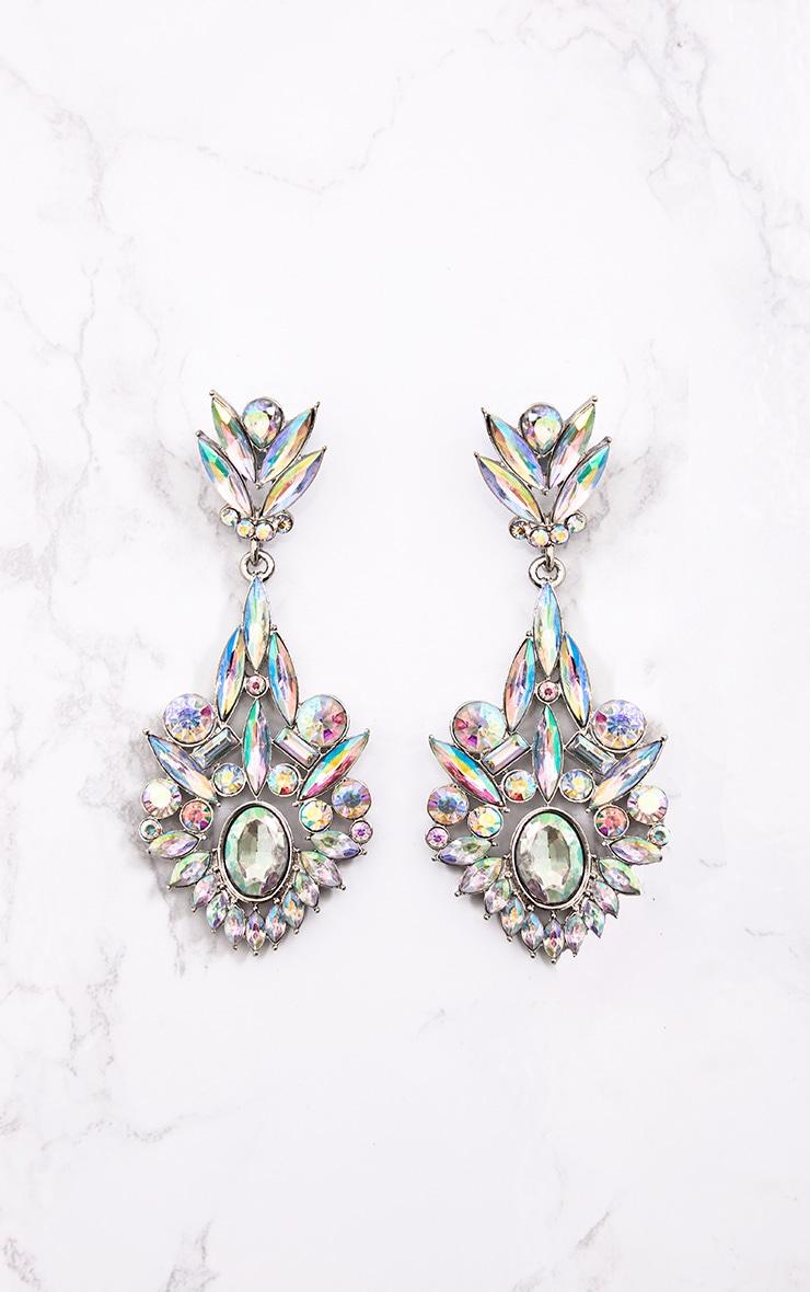 Silver Iridescent Diamante Drop Earrings 3