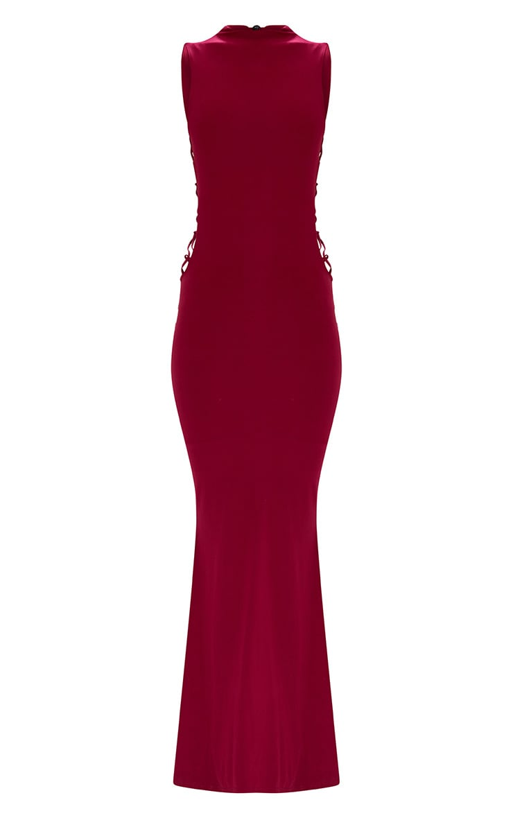 Burgundy Lace Up Side Maxi Dress 3