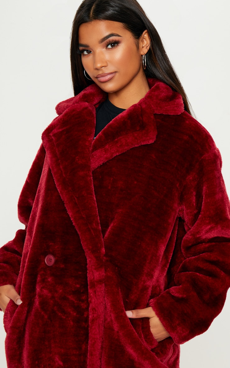 Faux Fur Burgundy Coat  5