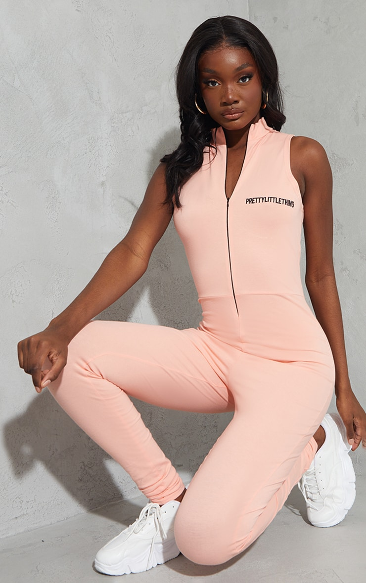 PRETTYLITTLETHING Tall Peach Embroidered Sleeveless Catsuit 3