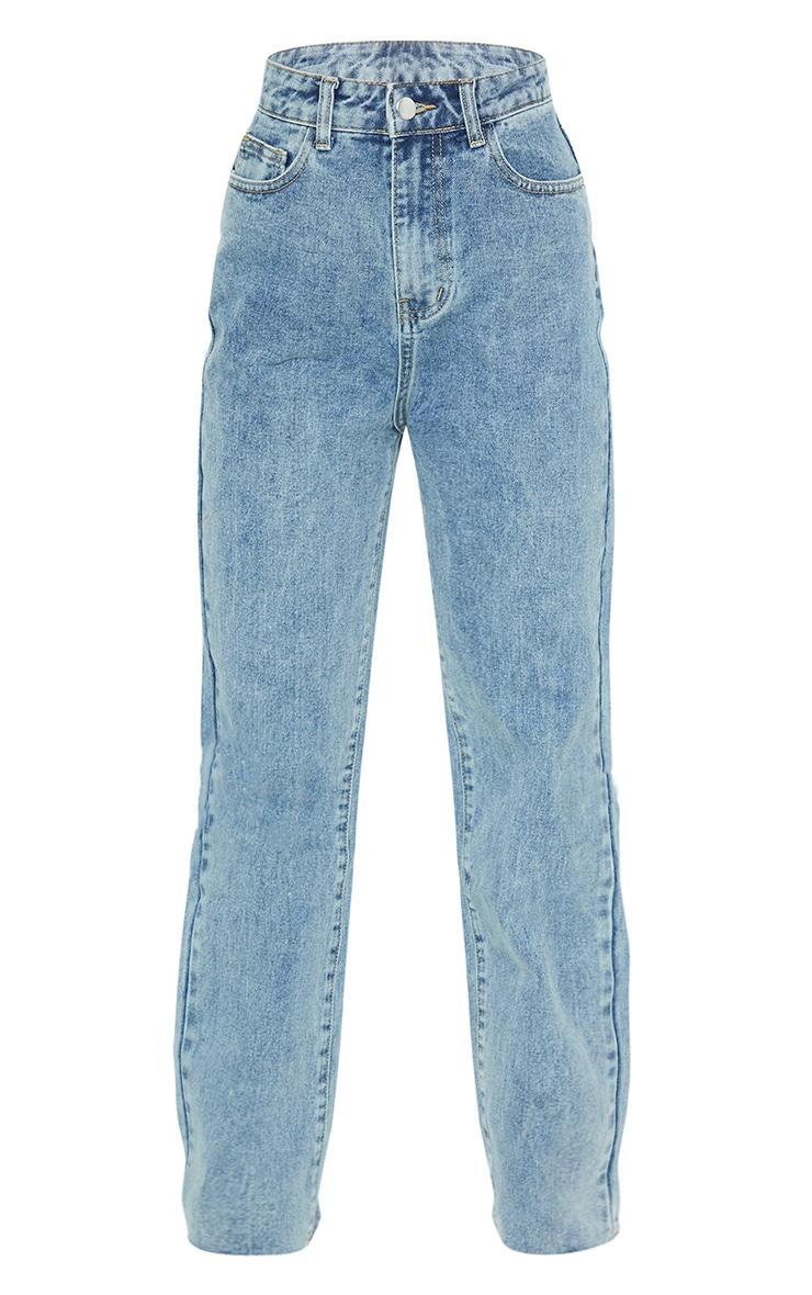 PRETTYLITTLETHING Vintage Petite Wash Long Leg Straight Jean 5