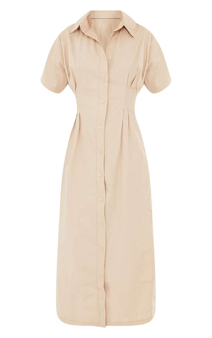 Stone Fitted Waist Short Sleeve Midi Shirt Dress 5