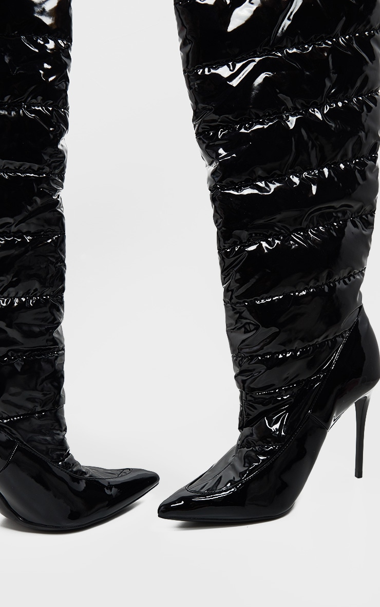Black Quilted High Shine Knee Boot 3