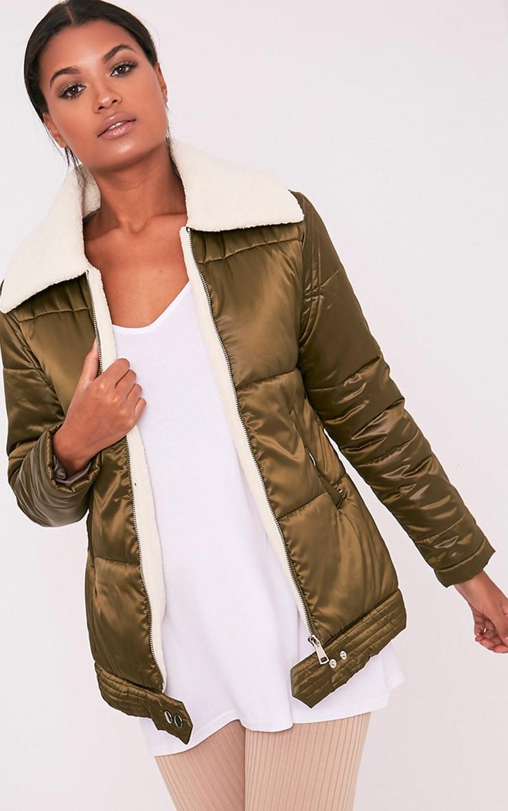 Brai Khaki Satin Faux Shearling Collar Puffer Coat 1