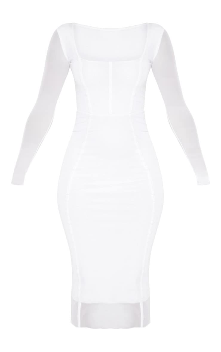 White Mesh Binding Detail Long Sleeve Midi Dress 3