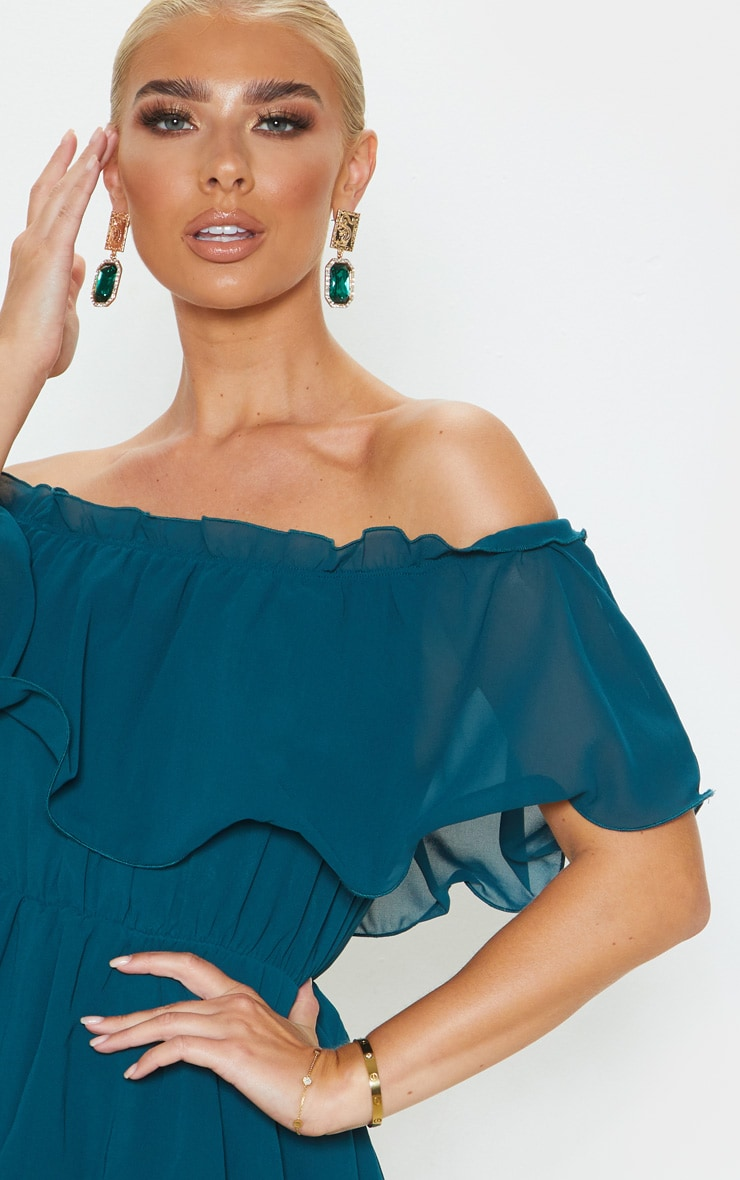 Emerald Green Chiffon Bardot Ruffle Tiered Dress 5