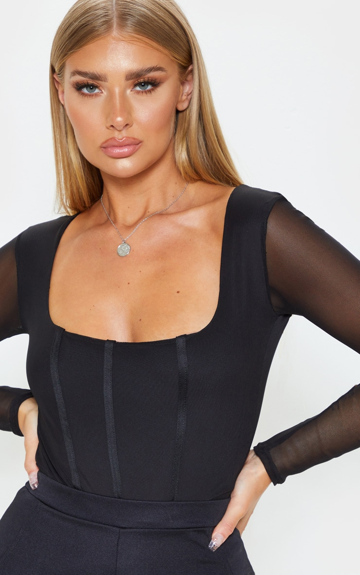 Black Sheer Square Neck Mesh Bodysuit 5