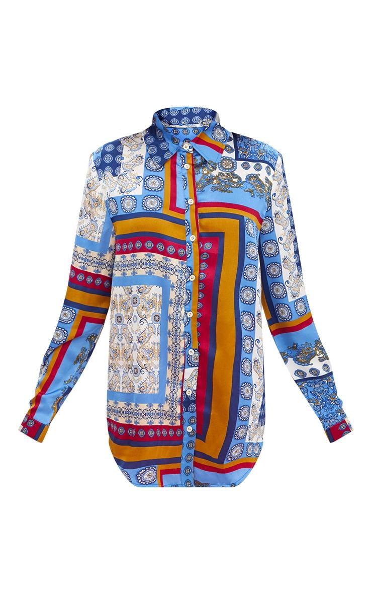 Blue Satin Paisley Print Button Front Shirt 3