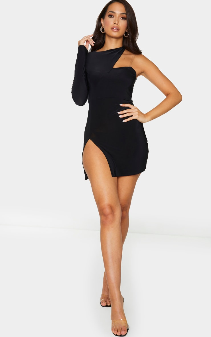Black Slinky Clear Strap Split Detail Bodycon Dress 3