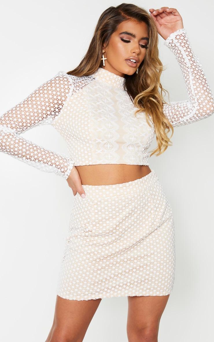 White Crochet High Neck Long Sleeve Crop Top 1