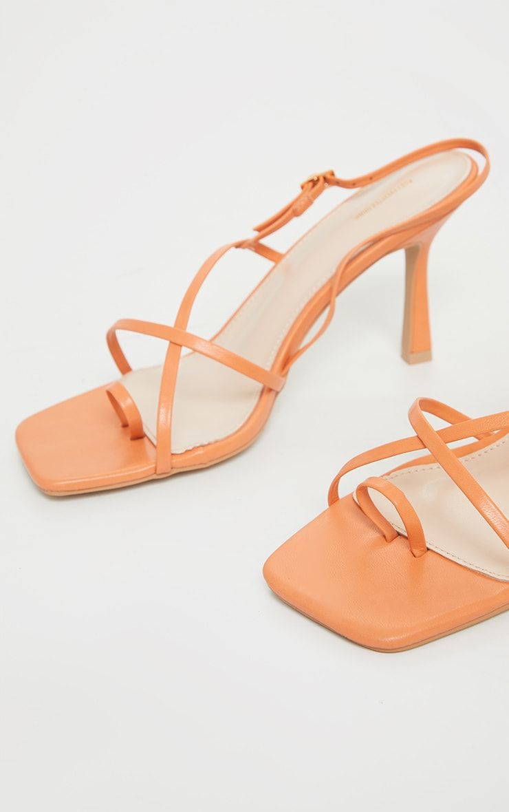 Orange Square Toe Strappy Heeled Sandals 4