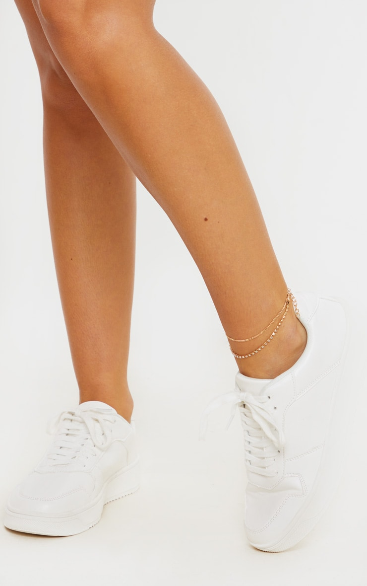 Gold Diamante Double Chain Anklet 3