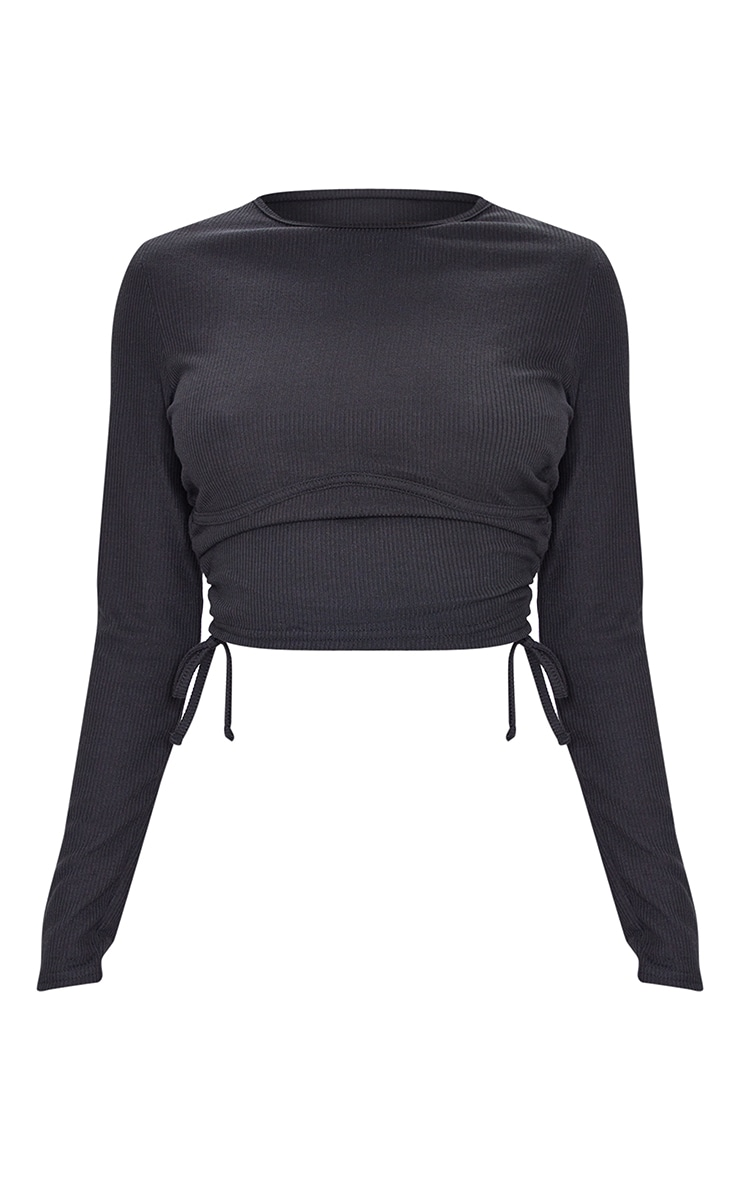 Tall Black Underbust Drawstring Long Sleeve Crop Top 5