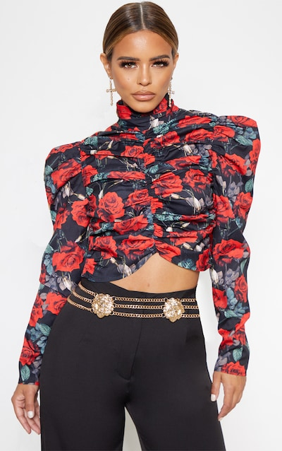 Petite Black Floral Ruched Detail Cropped Blouse