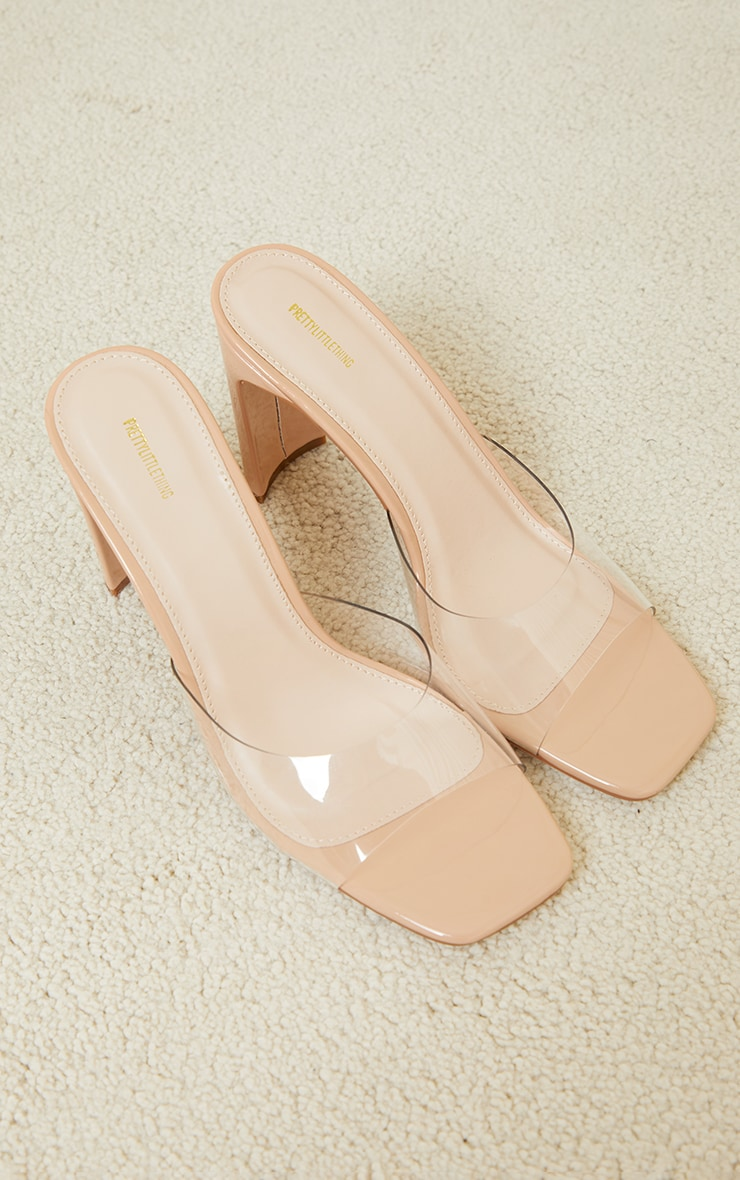 Nude Clear Low Flat Heeled Mules 4