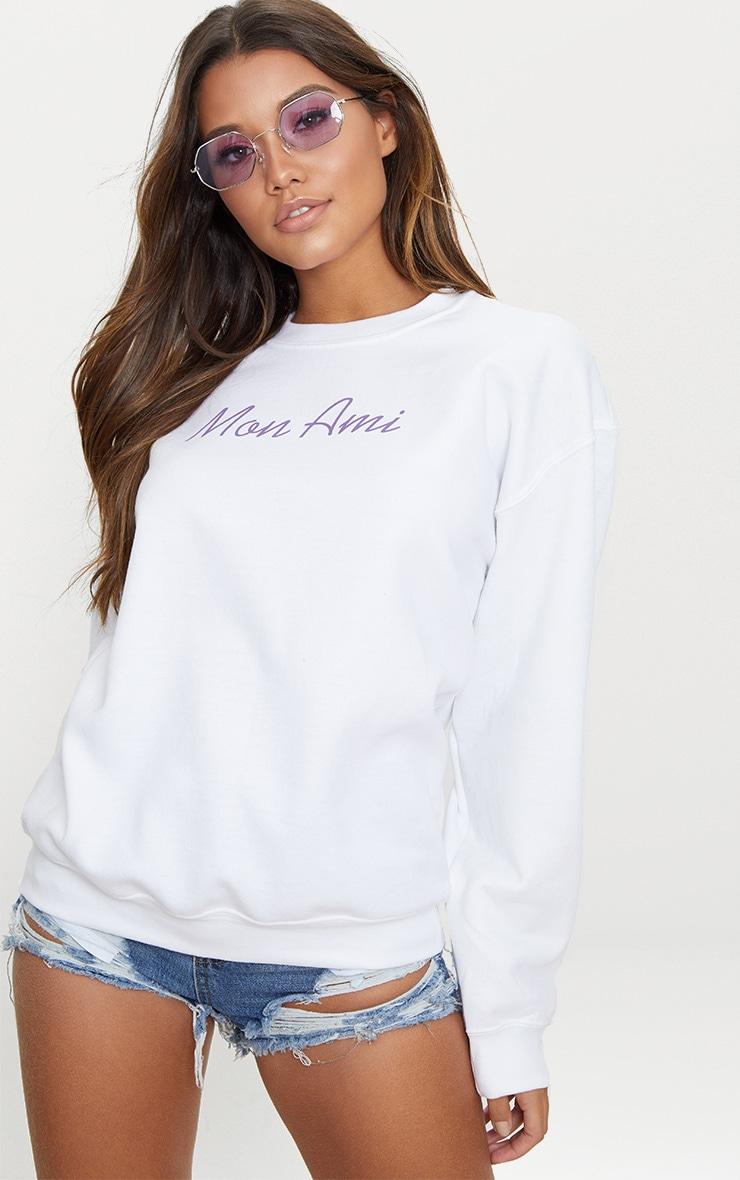 White Mon Ami Slogan Oversized Sweater  1