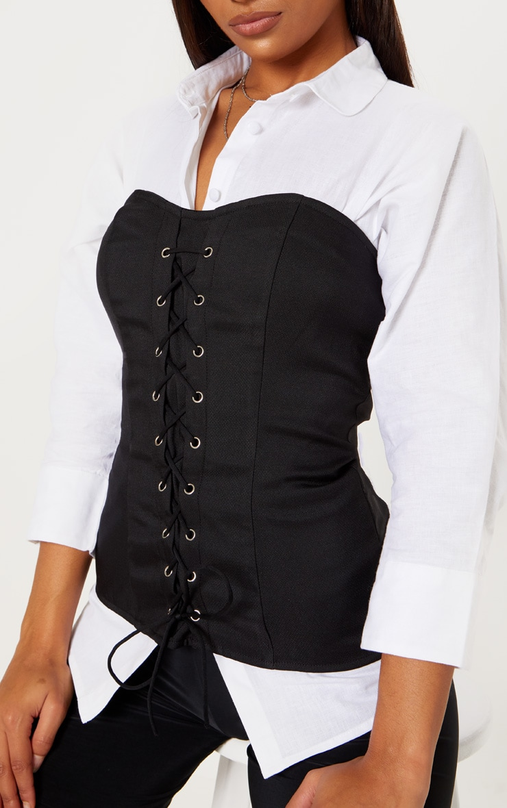 Black Lace Up Corset Top 5