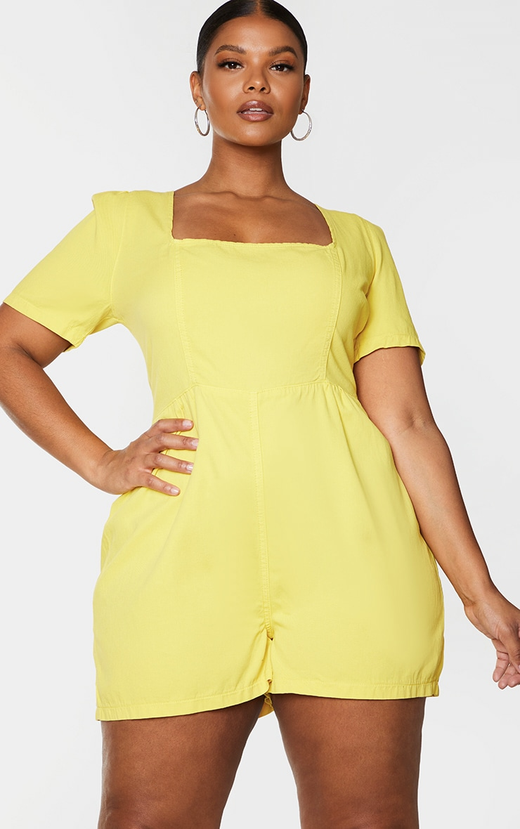 Plus Lemon Square Neck Denim Romper 1